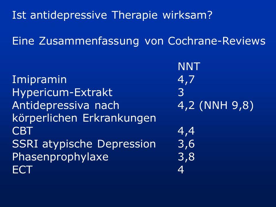 Ist antidepressive Therapie wirksam? Eine Zusammenfassung von Cochrane-Reviews NNT Imipramin4,7 Hypericum-Extrakt3 Antidepressiva nach 4,2 (NNH 9,8) k