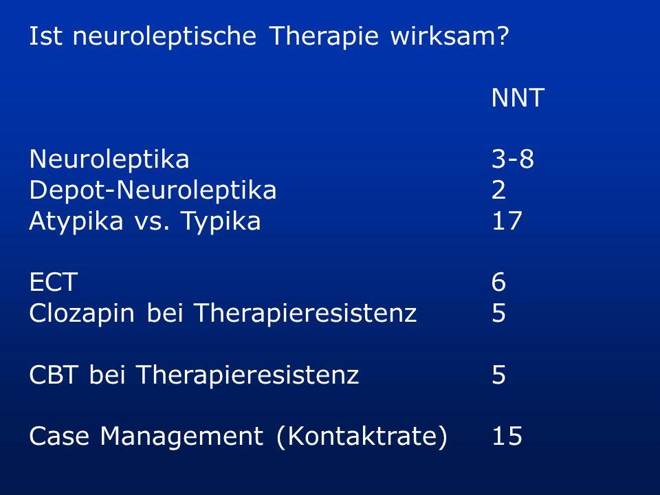 Ist neuroleptische Therapie wirksam? NNT Neuroleptika3-8 Depot-Neuroleptika2 Atypika vs. Typika17 ECT6 Clozapin bei Therapieresistenz5 CBT bei Therapi