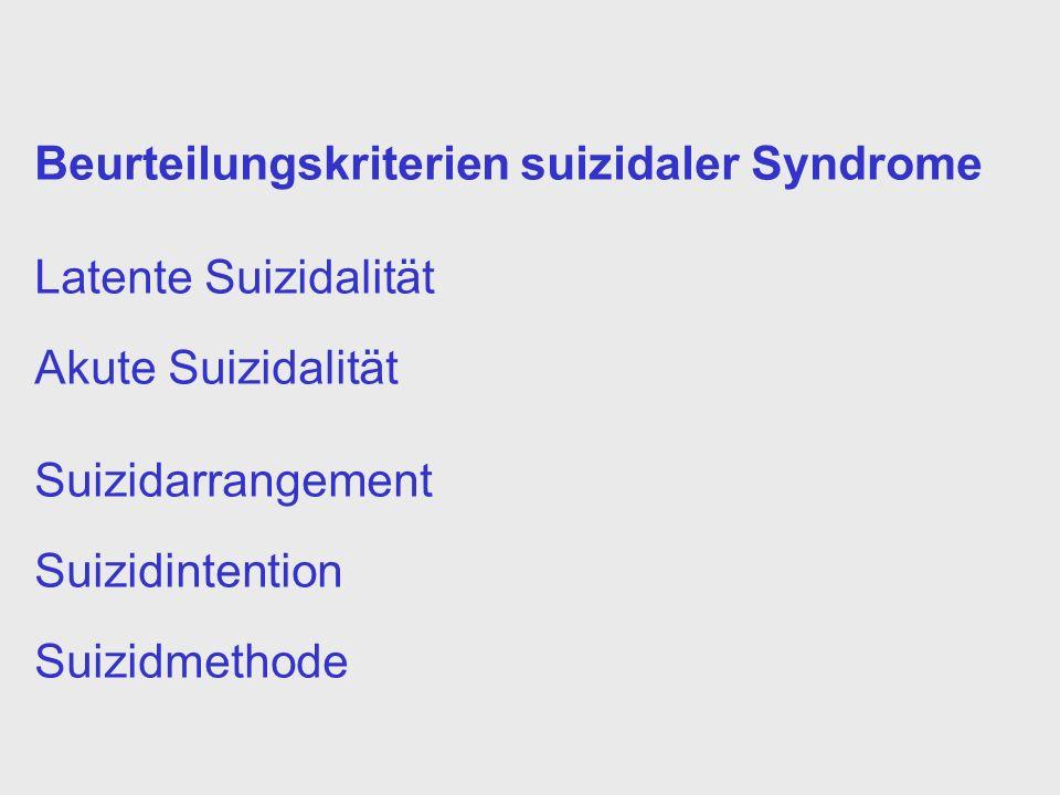 Beurteilungskriterien suizidaler Syndrome Latente Suizidalität Akute Suizidalität Suizidarrangement Suizidintention Suizidmethode