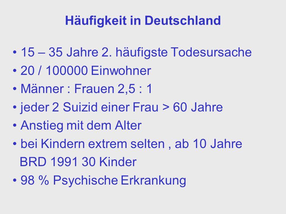 Häufigkeit in Deutschland 15 – 35 Jahre 2. häufigste Todesursache 20 / 100000 Einwohner Männer : Frauen 2,5 : 1 jeder 2 Suizid einer Frau > 60 Jahre A