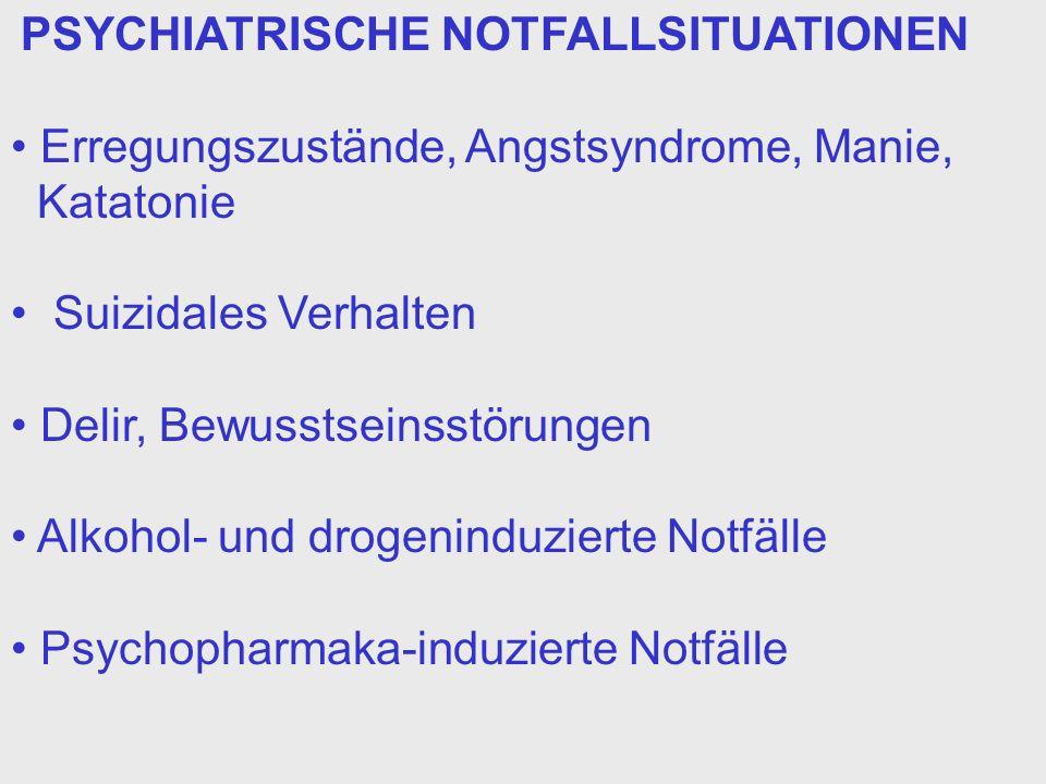PSYCHIATRISCHE NOTFALLSITUATIONEN Erregungszustände, Angstsyndrome, Manie, Katatonie Suizidales Verhalten Delir, Bewusstseinsstörungen Alkohol- und dr