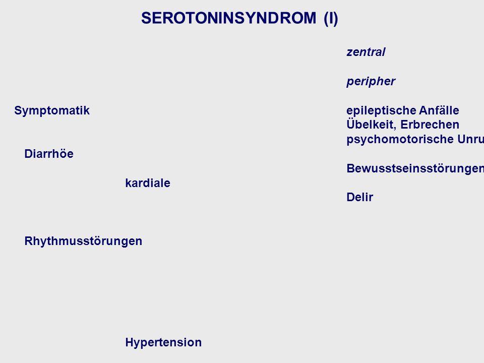SEROTONINSYNDROM (I) zentral peripher Symptomatik epileptische Anfälle Übelkeit, Erbrechen psychomotorische Unruhe Diarrhöe Bewusstseinsstörungen kard