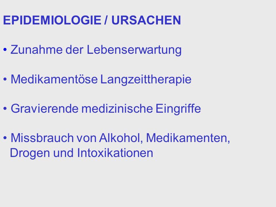 EPIDEMIOLOGIE / URSACHEN Zunahme der Lebenserwartung Medikamentöse Langzeittherapie Gravierende medizinische Eingriffe Missbrauch von Alkohol, Medikam