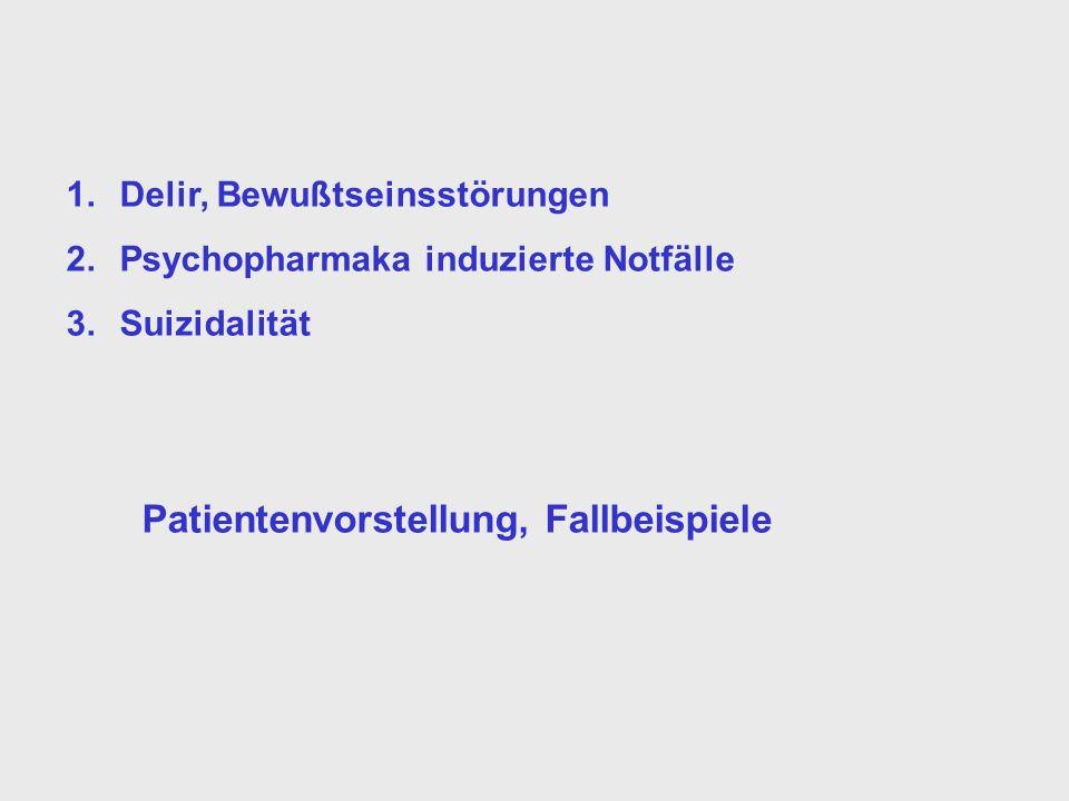 1.Delir, Bewußtseinsstörungen 2.Psychopharmaka induzierte Notfälle 3.Suizidalität Patientenvorstellung, Fallbeispiele