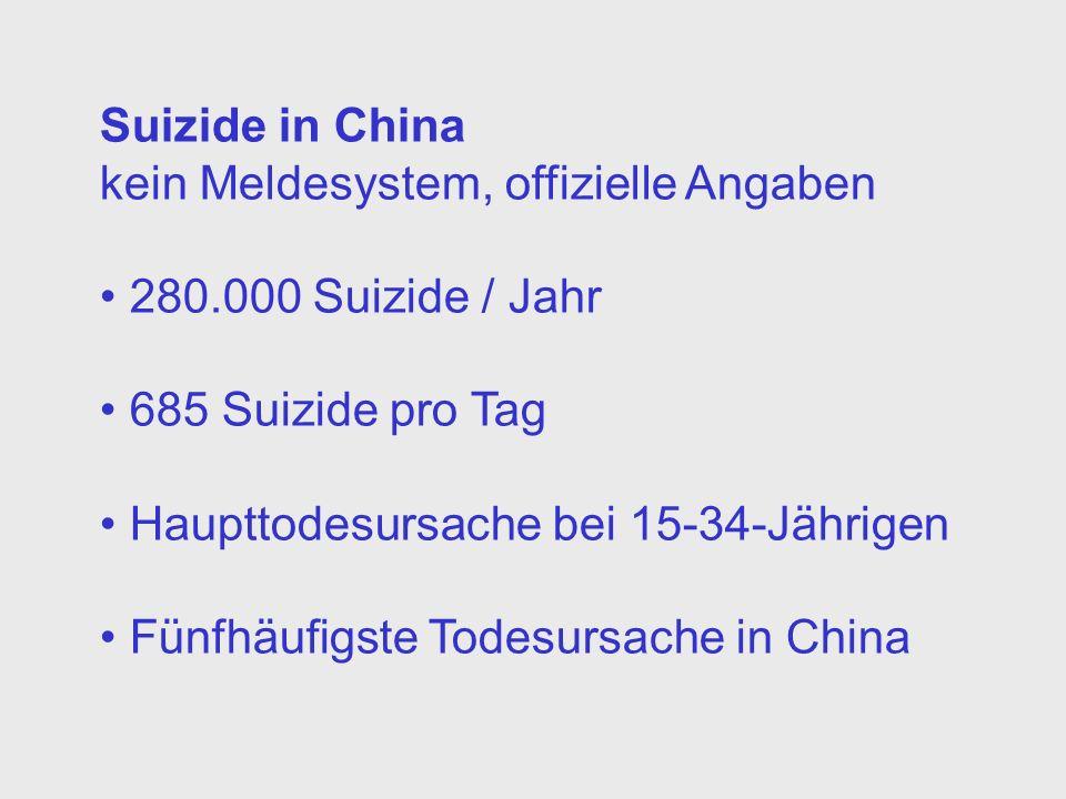 Suizide in China kein Meldesystem, offizielle Angaben 280.000 Suizide / Jahr 685 Suizide pro Tag Haupttodesursache bei 15-34-Jährigen Fünfhäufigste Todesursache in China