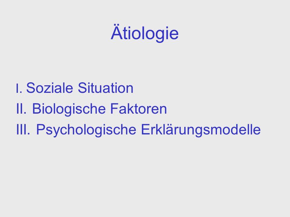 Ätiologie I. Soziale Situation II. Biologische Faktoren III. Psychologische Erklärungsmodelle