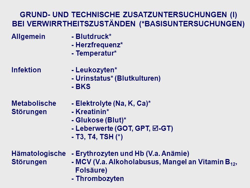 GRUND- UND TECHNISCHE ZUSATZUNTERSUCHUNGEN (I) BEI VERWIRRTHEITSZUSTÄNDEN (*BASISUNTERSUCHUNGEN) Allgemein- Blutdruck* - Herzfrequenz* - Temperatur* Infektion- Leukozyten* - Urinstatus* (Blutkulturen) - BKS Metabolische- Elektrolyte (Na, K, Ca)* Störungen - Kreatinin* - Glukose (Blut)* - Leberwerte (GOT, GPT, -GT) - T3, T4, TSH (*) Hämatologische - Erythrozyten und Hb (V.a.