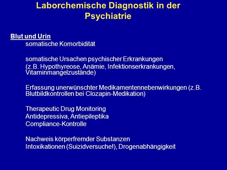 Laborchemische Diagnostik in der Psychiatrie Blut und Urin somatische Komorbidität somatische Ursachen psychischer Erkrankungen (z.B. Hypothyreose, An