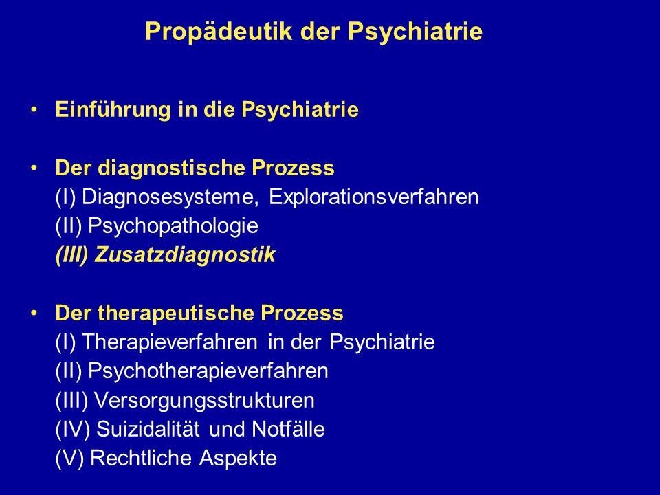 Propädeutik der Psychiatrie Einführung in die Psychiatrie Der diagnostische Prozess (I) Diagnosesysteme, Explorationsverfahren (II) Psychopathologie (III) Zusatzdiagnostik Der therapeutische Prozess (I) Therapieverfahren in der Psychiatrie (II) Psychotherapieverfahren (III) Versorgungsstrukturen (IV) Suizidalität und Notfälle (V) Rechtliche Aspekte