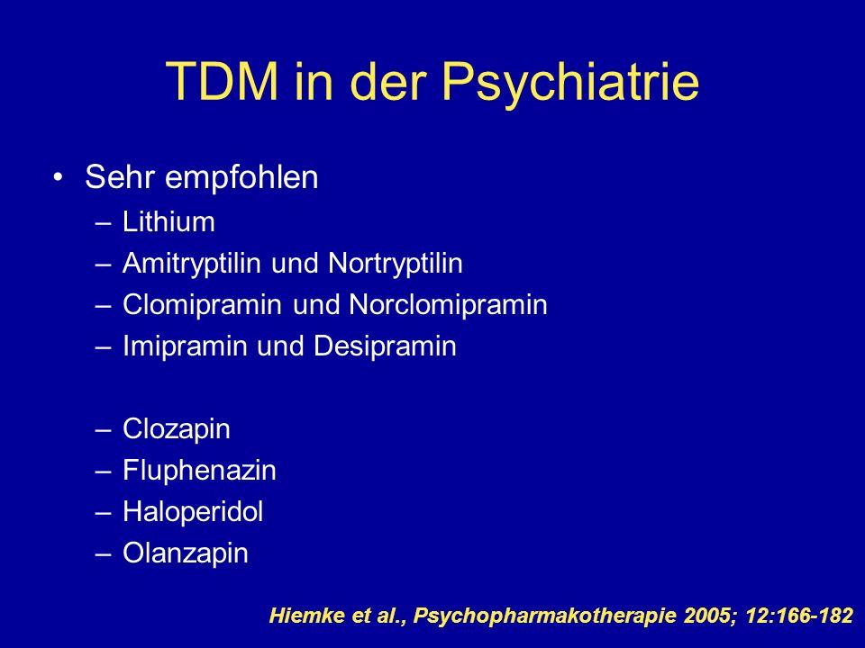 TDM in der Psychiatrie Sehr empfohlen –Lithium –Amitryptilin und Nortryptilin –Clomipramin und Norclomipramin –Imipramin und Desipramin –Clozapin –Flu