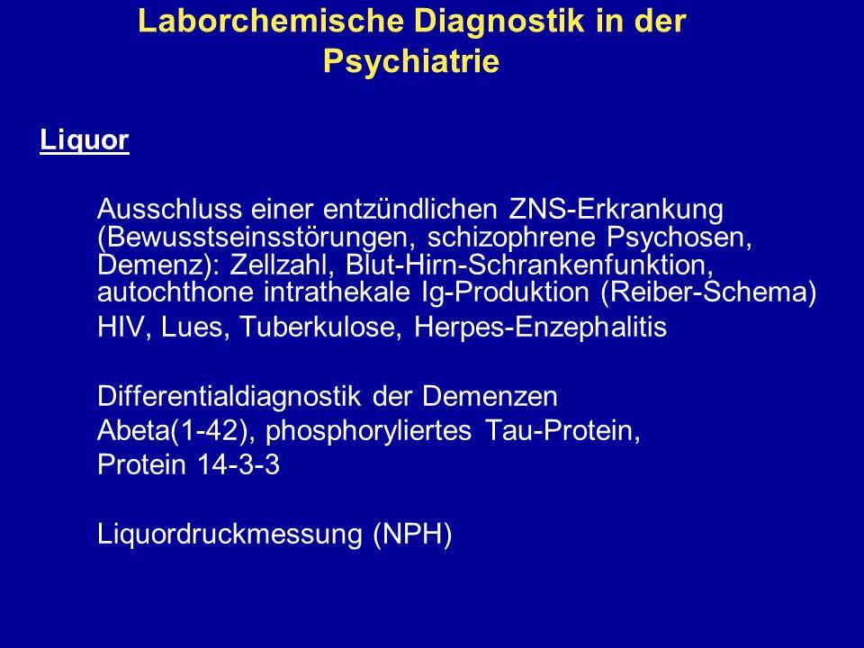 Laborchemische Diagnostik in der Psychiatrie Liquor Ausschluss einer entzündlichen ZNS-Erkrankung (Bewusstseinsstörungen, schizophrene Psychosen, Deme