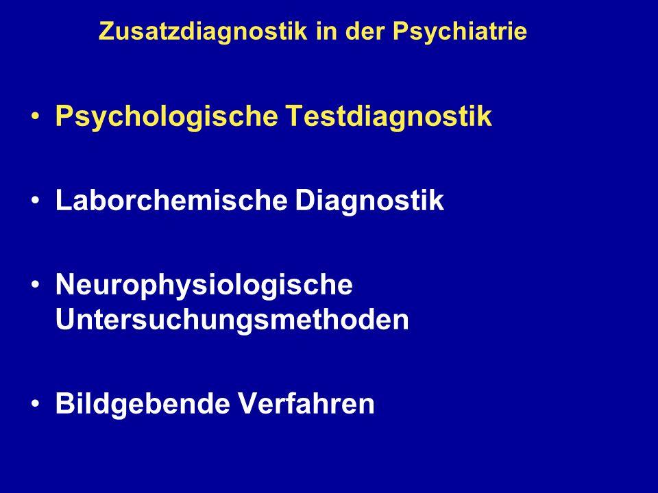 Laborchemische Diagnostik in der Psychiatrie Liquor Ausschluss einer entzündlichen ZNS-Erkrankung (Bewusstseinsstörungen, schizophrene Psychosen, Demenz): Zellzahl, Blut-Hirn-Schrankenfunktion, autochthone intrathekale Ig-Produktion (Reiber-Schema) HIV, Lues, Tuberkulose, Herpes-Enzephalitis Differentialdiagnostik der Demenzen Abeta(1-42), phosphoryliertes Tau-Protein, Protein 14-3-3 Liquordruckmessung (NPH)