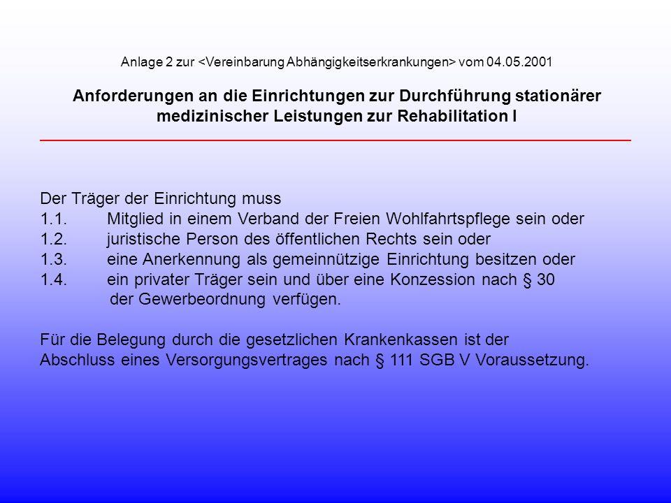 Anlage 2 zur vom 04.05.2001 Anforderungen an die Einrichtungen zur Durchführung stationärer medizinischer Leistungen zur Rehabilitation I Der Träger d