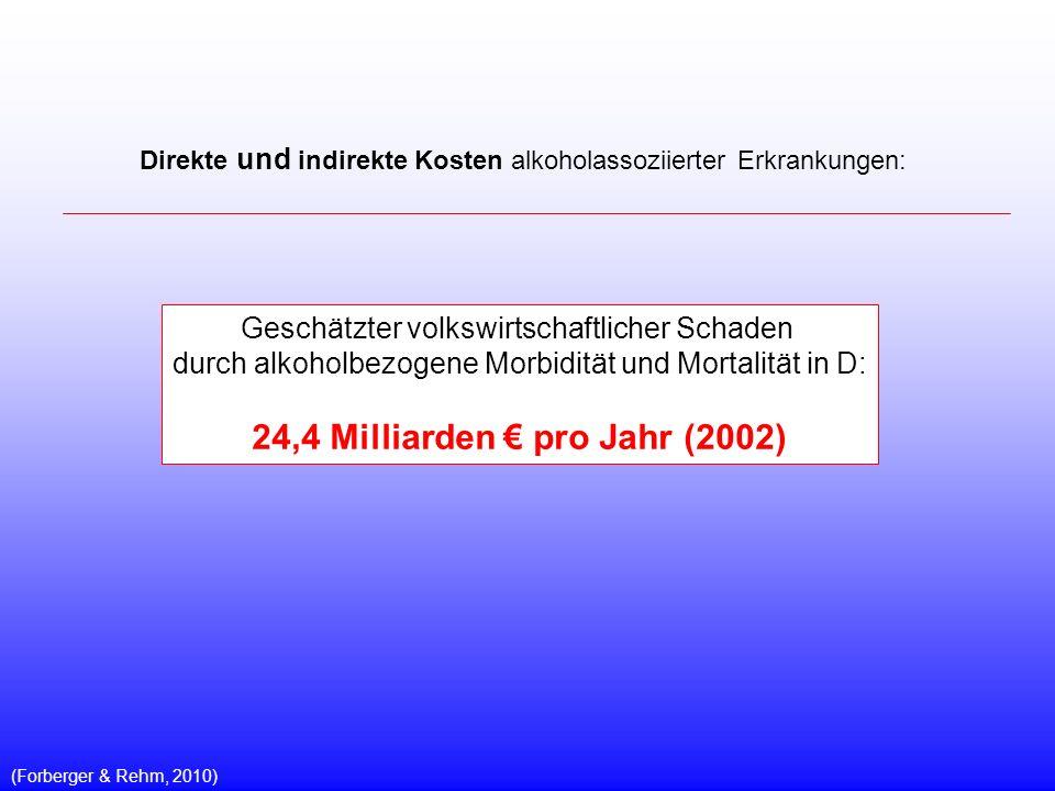 Geschätzter volkswirtschaftlicher Schaden durch alkoholbezogene Morbidität und Mortalität in D: 24,4 Milliarden pro Jahr (2002) (Forberger & Rehm, 2010) Direkte und indirekte Kosten alkoholassoziierter Erkrankungen: