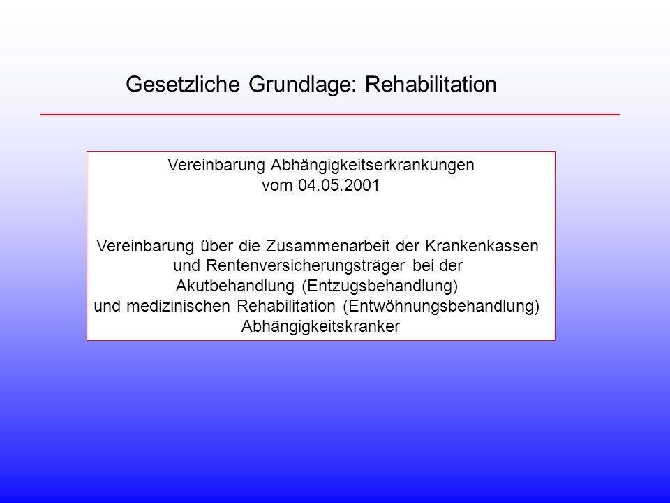 Gesetzliche Grundlage: Rehabilitation Vereinbarung Abhängigkeitserkrankungen vom 04.05.2001 Vereinbarung über die Zusammenarbeit der Krankenkassen und Rentenversicherungsträger bei der Akutbehandlung (Entzugsbehandlung) und medizinischen Rehabilitation (Entwöhnungsbehandlung) Abhängigkeitskranker