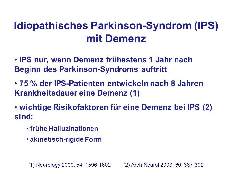Idiopathisches Parkinson-Syndrom (IPS) mit Demenz IPS nur, wenn Demenz frühestens 1 Jahr nach Beginn des Parkinson-Syndroms auftritt 75 % der IPS-Pati