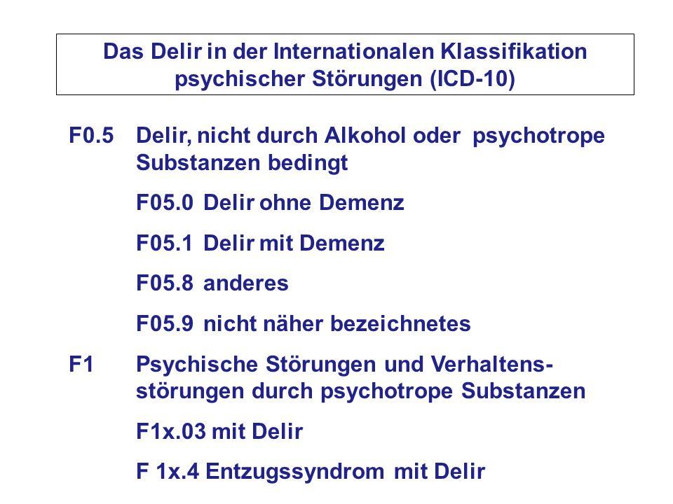 Das Delir in der Internationalen Klassifikation psychischer Störungen (ICD-10) F0.5 Delir, nicht durch Alkohol oder psychotrope Substanzen bedingt F05