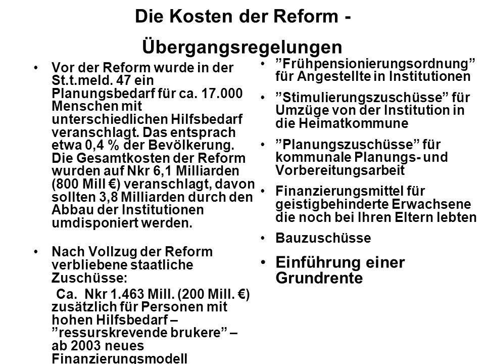 Die Kosten der Reform - Übergangsregelungen Frühpensionierungsordnung für Angestellte in Institutionen Stimulierungszuschüsse für Umzüge von der Insti