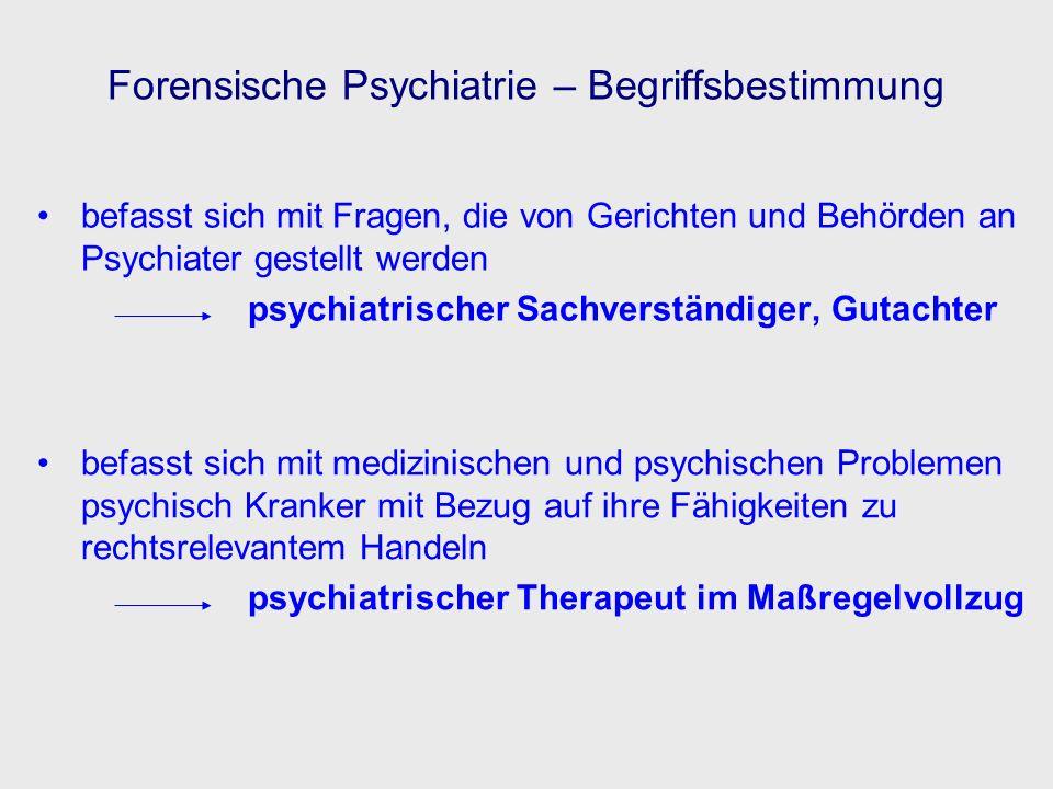 Forensische Psychiatrie – Begriffsbestimmung befasst sich mit Fragen, die von Gerichten und Behörden an Psychiater gestellt werden psychiatrischer Sac