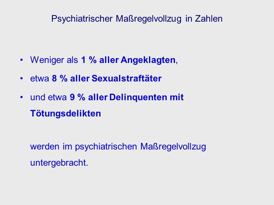 Psychiatrischer Maßregelvollzug in Zahlen Weniger als 1 % aller Angeklagten, etwa 8 % aller Sexualstraftäter und etwa 9 % aller Delinquenten mit Tötun