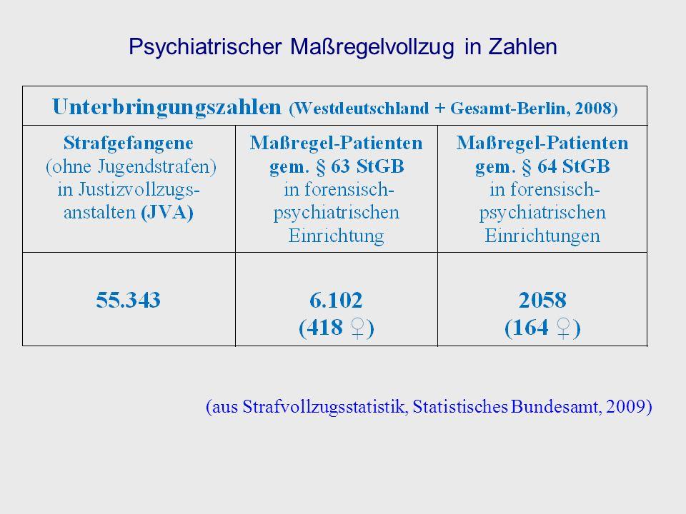 (aus Strafvollzugsstatistik, Statistisches Bundesamt, 2009) Psychiatrischer Maßregelvollzug in Zahlen