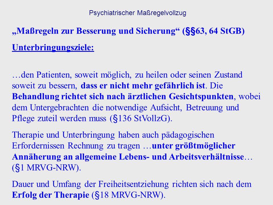 Psychiatrischer Maßregelvollzug Maßregeln zur Besserung und Sicherung (§§63, 64 StGB) Unterbringungsziele: …den Patienten, soweit möglich, zu heilen o