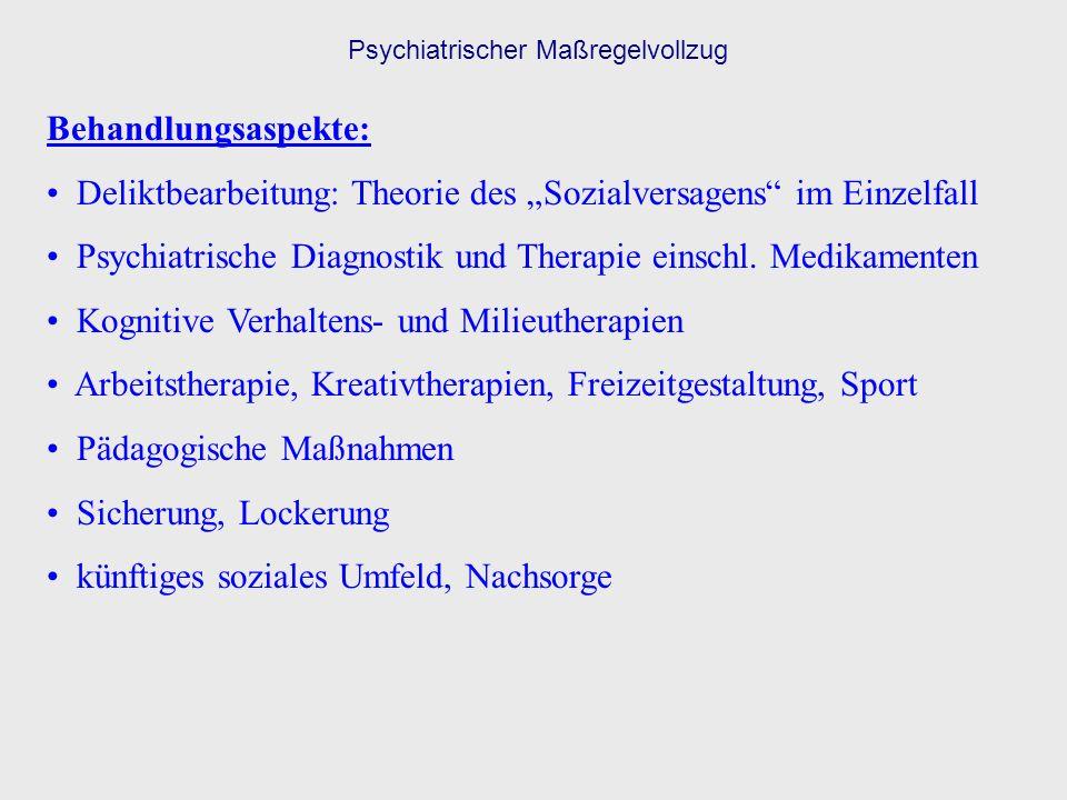 Behandlungsaspekte: Deliktbearbeitung: Theorie des Sozialversagens im Einzelfall Psychiatrische Diagnostik und Therapie einschl. Medikamenten Kognitiv