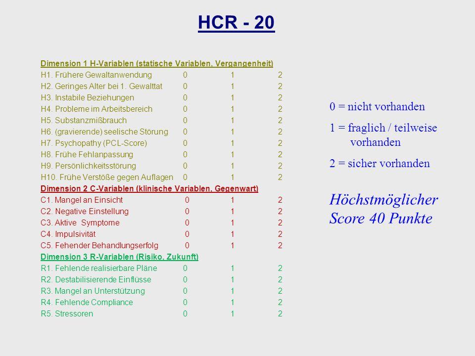 Dimension 1 H-Variablen (statische Variablen, Vergangenheit) H1. Frühere Gewaltanwendung012 H2. Geringes Alter bei 1. Gewalttat012 H3. Instabile Bezie