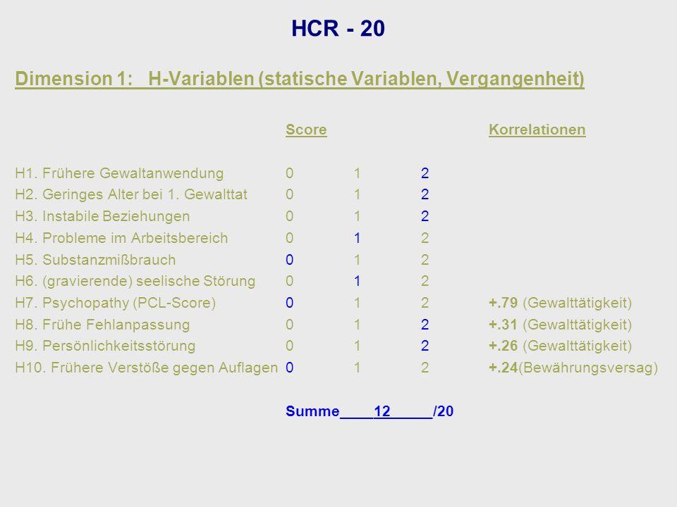 Dimension 1: H-Variablen (statische Variablen, Vergangenheit) ScoreKorrelationen H1. Frühere Gewaltanwendung012 H2. Geringes Alter bei 1. Gewalttat012