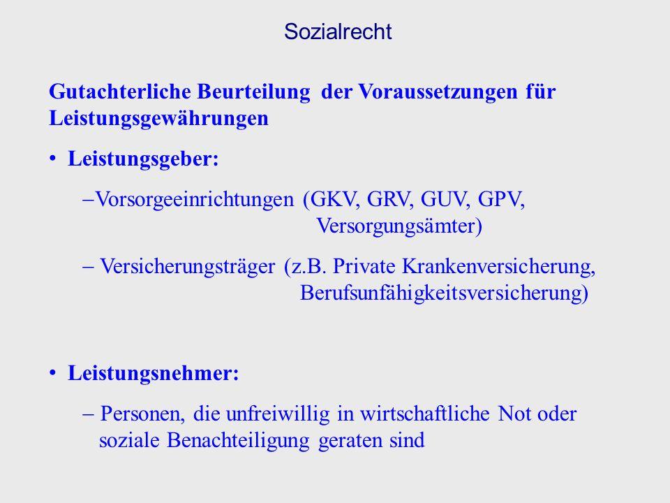 Sozialrecht Gutachterliche Beurteilung der Voraussetzungen für Leistungsgewährungen Leistungsgeber: Vorsorgeeinrichtungen (GKV, GRV, GUV, GPV, Versorg