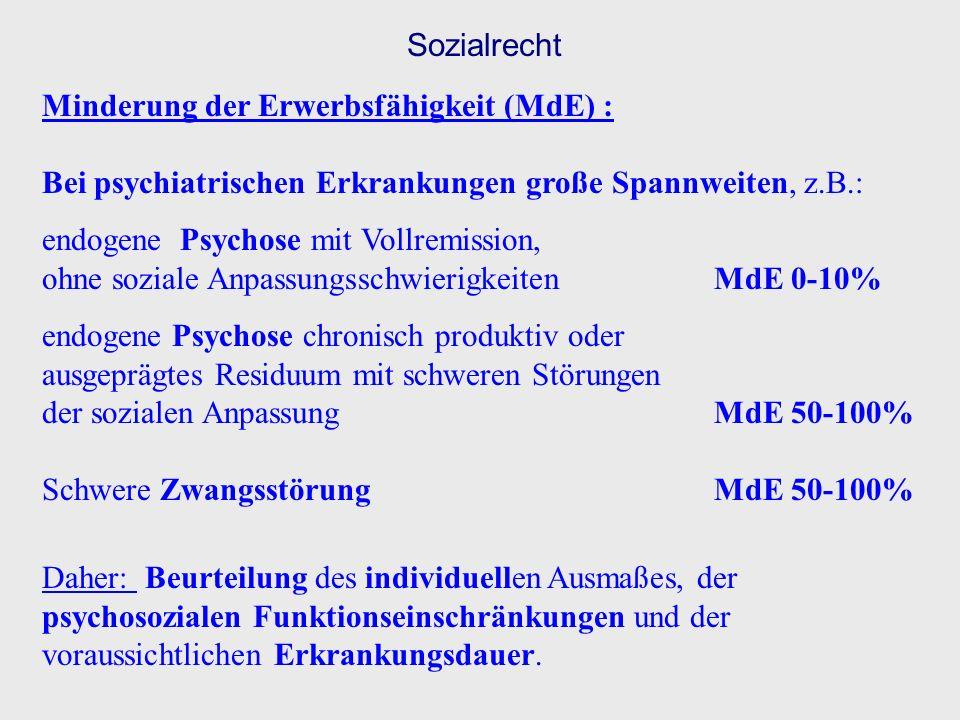 Sozialrecht Minderung der Erwerbsfähigkeit (MdE) : Bei psychiatrischen Erkrankungen große Spannweiten, z.B.: endogene Psychose mit Vollremission, ohne