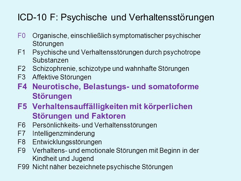 Kategoriale symptomorientierte Ordnung psychischer Störungen weitgehend frei von theoretischen und ätiologischen Annahmen Klassischer Neurosebegriff nicht mehr verwendet, stattdessen neurotische Störungen und Belastungs- und Anpassungsstörungen: phobische Störung (F40) sonstige Angststörung (F41) Zwangsstörung (F42) Anpassungsstörung (F43.2) Konversionsstörung (F44) sonstige neurotische Störung (F48) ICD 10