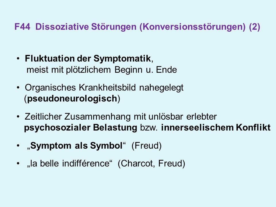 Fluktuation der Symptomatik, meist mit plötzlichem Beginn u. Ende Organisches Krankheitsbild nahegelegt (pseudoneurologisch) Zeitlicher Zusammenhang m
