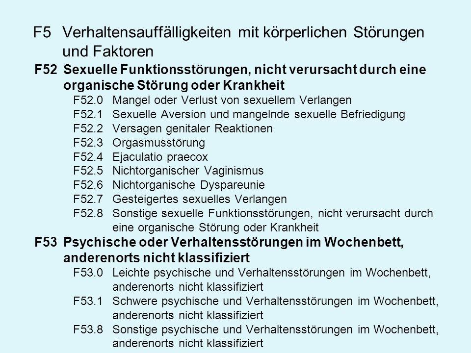 F5Verhaltensauffälligkeiten mit körperlichen Störungen und Faktoren F52Sexuelle Funktionsstörungen, nicht verursacht durch eine organische Störung ode
