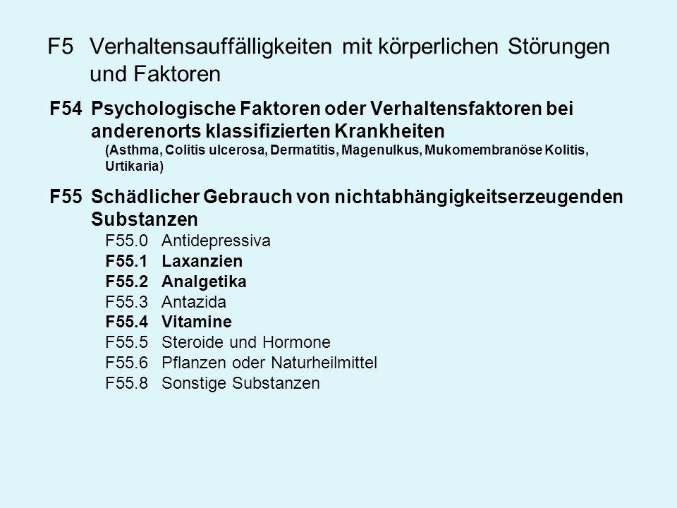 F5Verhaltensauffälligkeiten mit körperlichen Störungen und Faktoren F54Psychologische Faktoren oder Verhaltensfaktoren bei anderenorts klassifizierten
