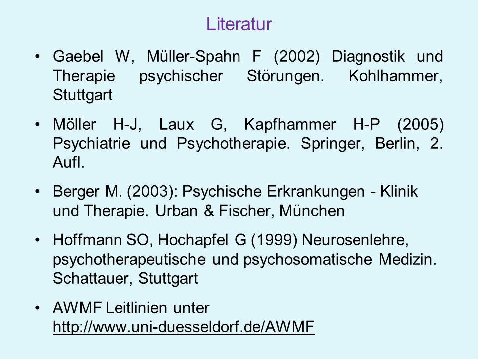 Literatur Gaebel W, Müller-Spahn F (2002) Diagnostik und Therapie psychischer Störungen. Kohlhammer, Stuttgart Möller H-J, Laux G, Kapfhammer H-P (200
