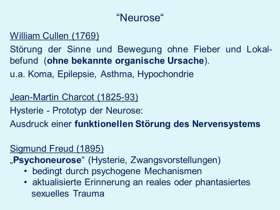 Neurose William Cullen (1769) Störung der Sinne und Bewegung ohne Fieber und Lokal- befund (ohne bekannte organische Ursache). u.a. Koma, Epilepsie, A