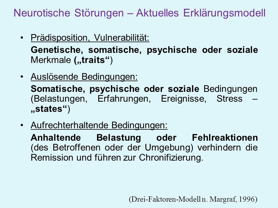 Neurotische Störungen – Aktuelles Erklärungsmodell Prädisposition, Vulnerabilität: Genetische, somatische, psychische oder soziale Merkmale (traits) A