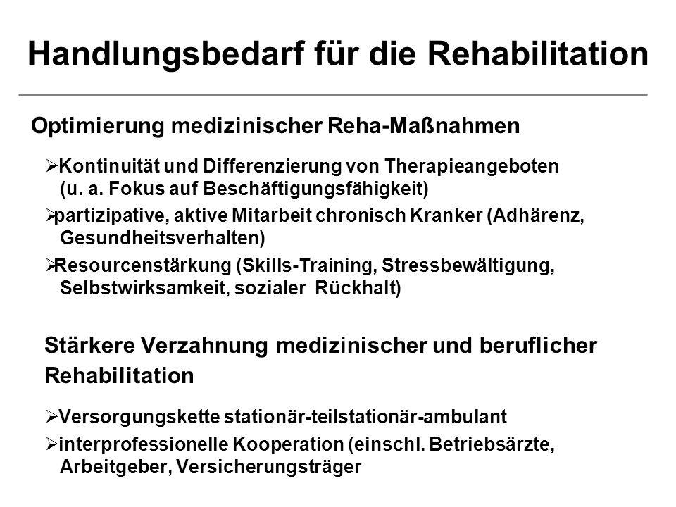 Handlungsbedarf für die Rehabilitation Optimierung medizinischer Reha-Maßnahmen Kontinuität und Differenzierung von Therapieangeboten (u.