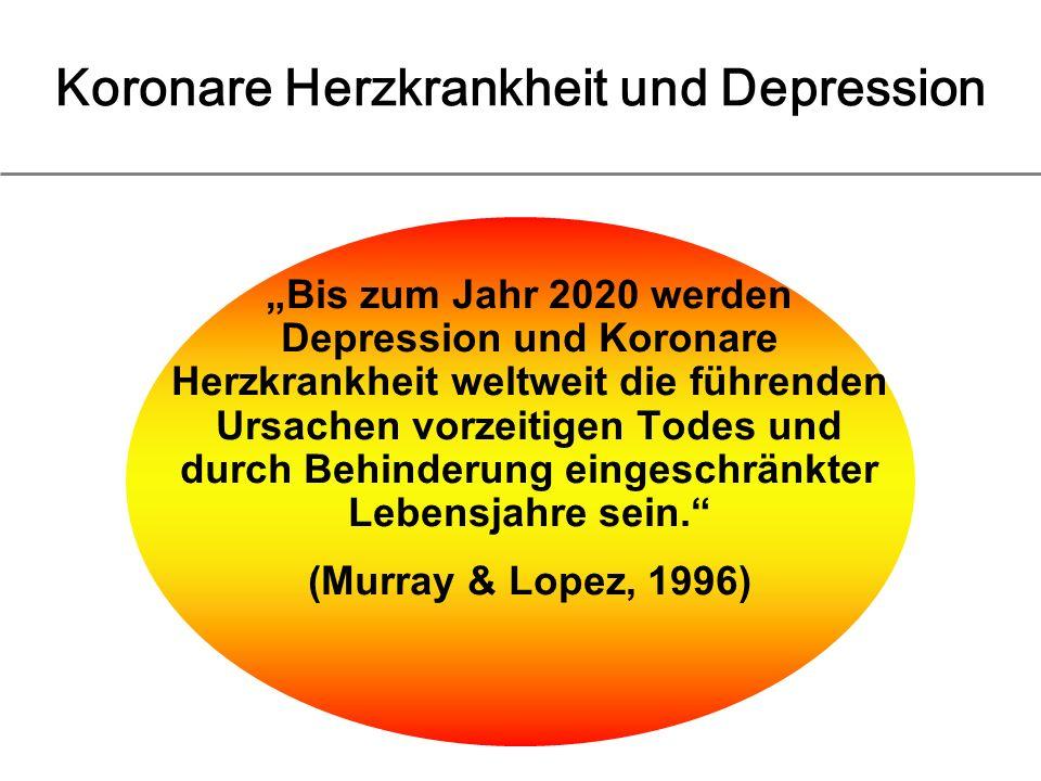 Koronare Herzkrankheit und Depression Bis zum Jahr 2020 werden Depression und Koronare Herzkrankheit weltweit die führenden Ursachen vorzeitigen Todes und durch Behinderung eingeschränkter Lebensjahre sein.