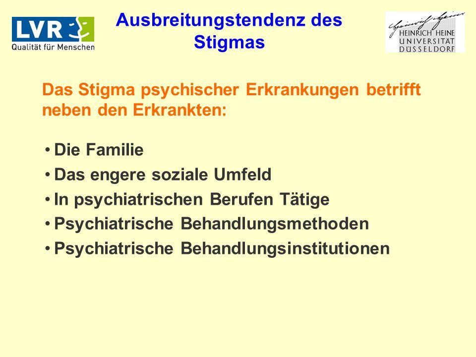 Die Familie Das engere soziale Umfeld In psychiatrischen Berufen Tätige Psychiatrische Behandlungsmethoden Psychiatrische Behandlungsinstitutionen Das Stigma psychischer Erkrankungen betrifft neben den Erkrankten: Ausbreitungstendenz des Stigmas