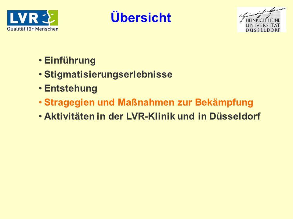 Einführung Stigmatisierungserlebnisse Entstehung Stragegien und Maßnahmen zur Bekämpfung Aktivitäten in der LVR-Klinik und in Düsseldorf Übersicht