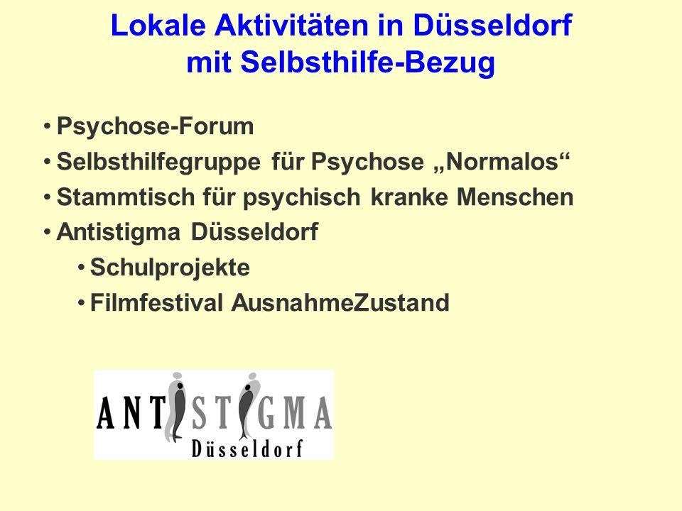 Lokale Aktivitäten in Düsseldorf mit Selbsthilfe-Bezug Psychose-Forum Selbsthilfegruppe für Psychose Normalos Stammtisch für psychisch kranke Menschen Antistigma Düsseldorf Schulprojekte Filmfestival AusnahmeZustand