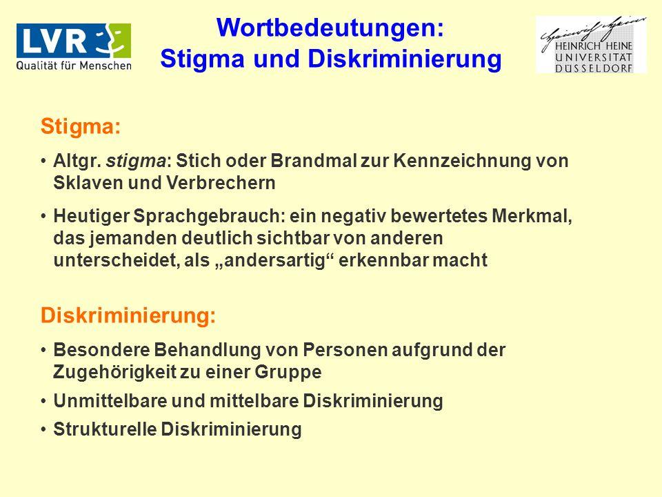 Wortbedeutungen: Stigma und Diskriminierung Stigma: Altgr.