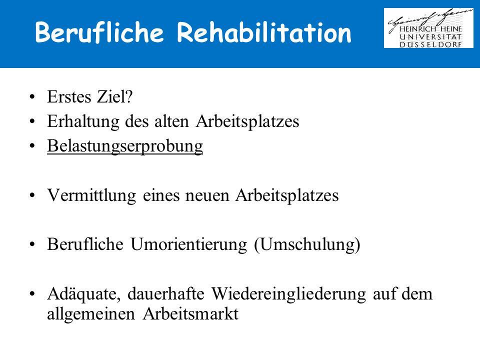 Berufliche Rehabilitation Erstes Ziel? Erhaltung des alten Arbeitsplatzes Belastungserprobung Vermittlung eines neuen Arbeitsplatzes Berufliche Umorie