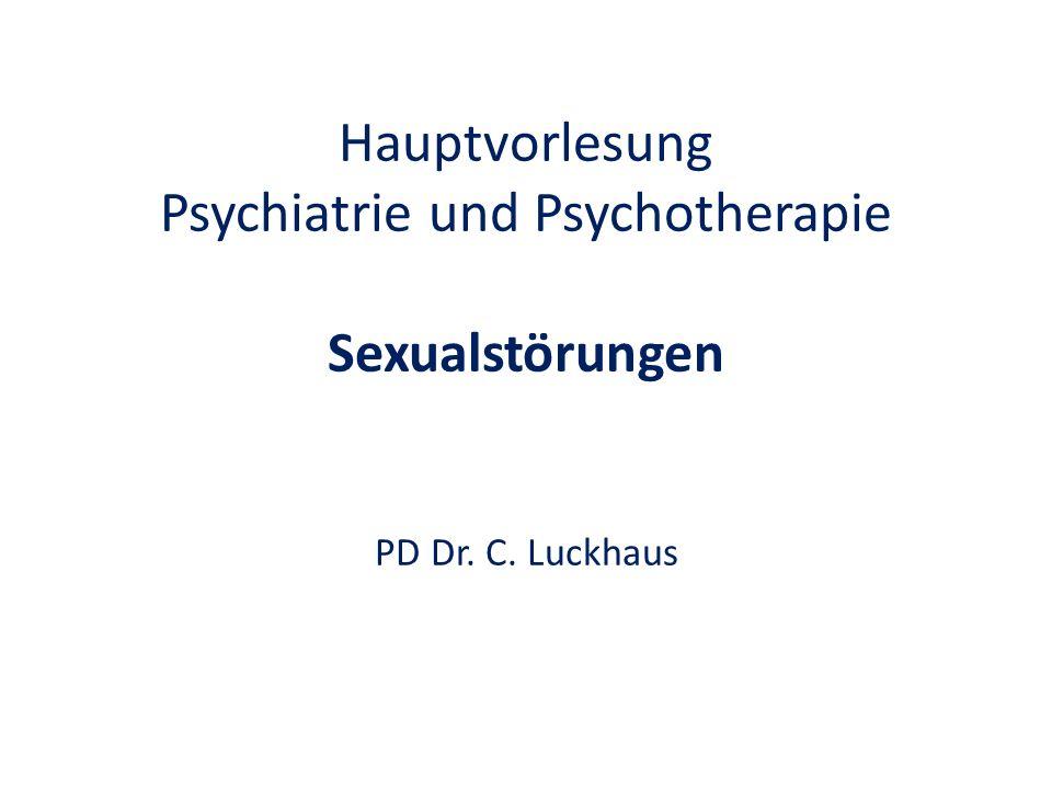 Sexuelle Funktionsstörungen ICD10: F52 Störungen der Geschlechts- identität ICD10: F64 Störungen der Sexualpräferenz ICD10: F65 Paraphilien DSM IV Psychiater Therapeut Gutachter