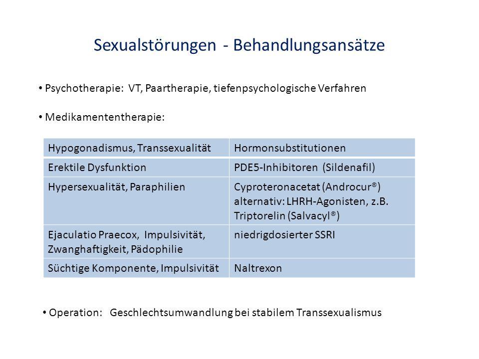 Sexualstörungen - Behandlungsansätze Hypogonadismus, TranssexualitätHormonsubstitutionen Erektile DysfunktionPDE5-Inhibitoren (Sildenafil) Hypersexual