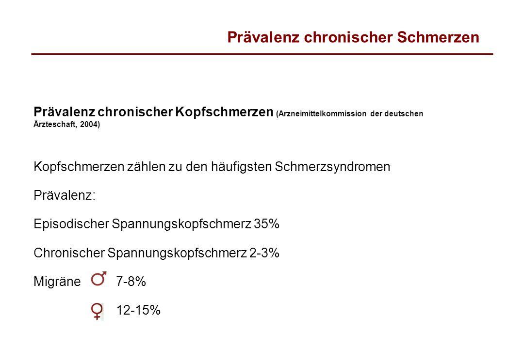 Prävalenz chronischer Schmerzen Prävalenz chronischer Kopfschmerzen (Arzneimittelkommission der deutschen Ärzteschaft, 2004) Kopfschmerzen zählen zu d
