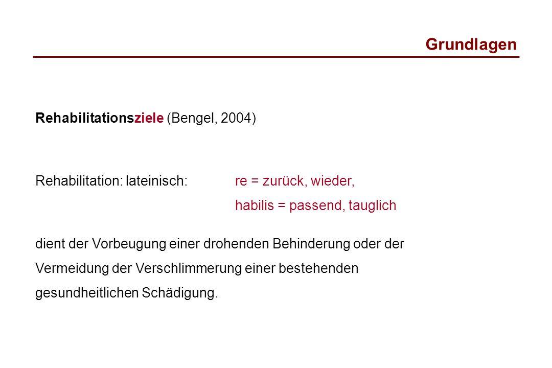 Grundlagen Rehabilitationsziele (Bengel, 2004) Rehabilitation: lateinisch: re = zurück, wieder, habilis = passend, tauglich dient der Vorbeugung einer