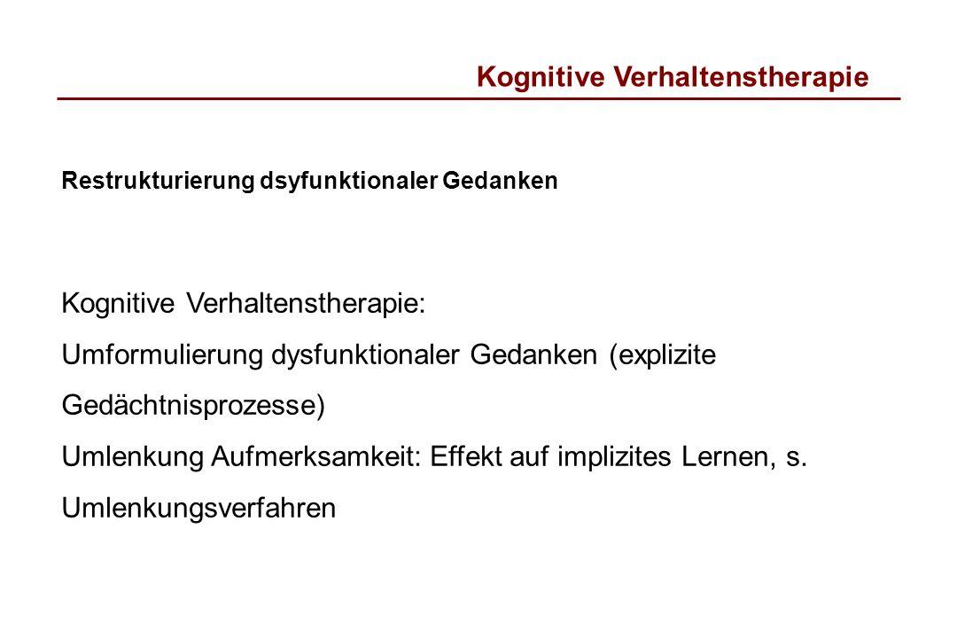 Kognitive Verhaltenstherapie Restrukturierung dsyfunktionaler Gedanken Kognitive Verhaltenstherapie: Umformulierung dysfunktionaler Gedanken (explizit